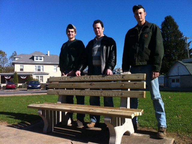 Student in Precision Machining played a major role in the creation of the benches.