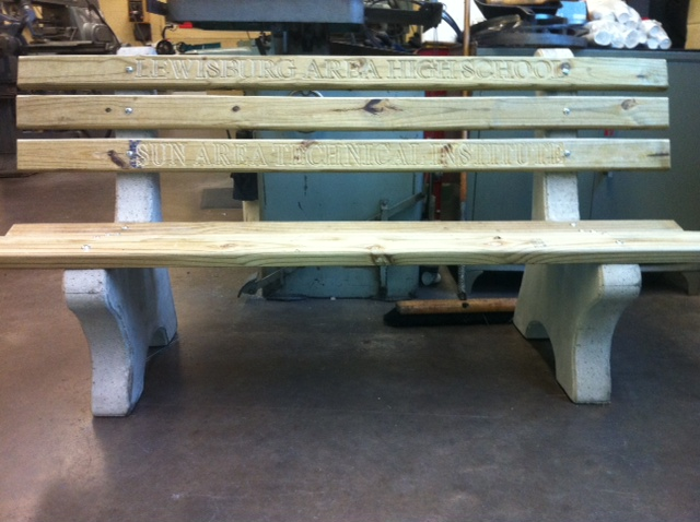 The Lewisburg bench prior to leaving the shop.