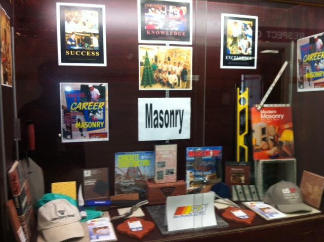The Masonry program is being featured in the display case at Shikellamy High School.