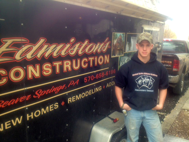 Carpentry Student Aron Hummel on Co-op with Edminston Construction