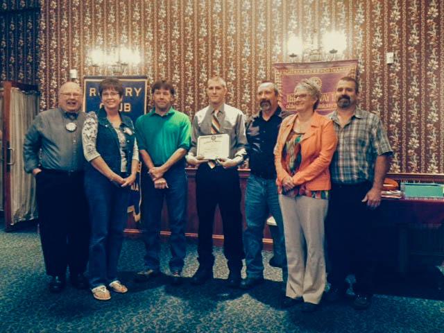 HVAC student Chase Girvin receives the September 2014 Lewisburg Rotary award.